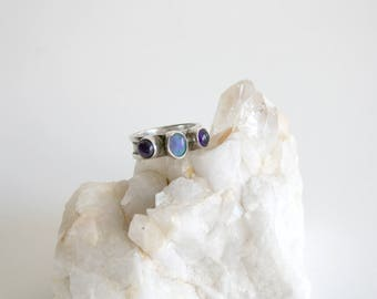 Opal Amethyst Sterling Ring 6.5