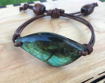 Labradorite and Leather Bracelet