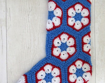 Crochet stocking, Christmas stocking, Christmas decoration, Granny squares, custom colours available