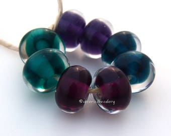 CLEARLY COLOR pairs - Lampwork Glass Bead Set - taneres - bold intense shades - clear cased