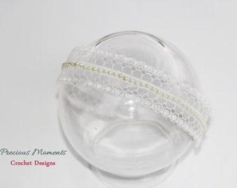 Newborn Headband Newborn Photo Prop, Lace and Beads Headband, Baby Headband, Baby Delicate Headband, Newborn Halo, Halo with Beads