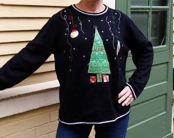 Christmas Tree Christmas Sweater, Ugly Christmas Sweater, Womens ugly sweater, Company Christmas Party, Tacky Christmas sweater, size XL