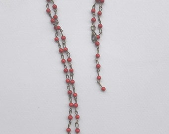 rosary with red chaolite and ivory heart