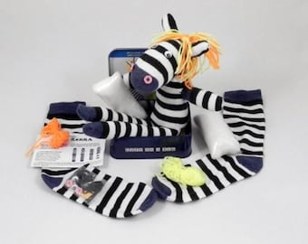 Sock Zebra in a Tin by Apples To Pears -