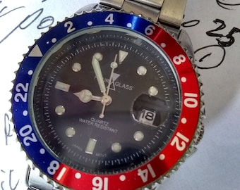 HOURGLASS red and blue heavyweight pepsi color bezel/ made by PARNIS