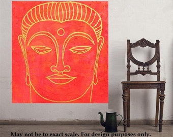 """Buddha 9... original painting, 19.7x19.7""""/ 50 50 cm, acrylic, cement, wood, religion, asia, culture, tradition"""