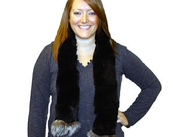 Glacier Wear Rex Rabbit Fur Scarf Fox Trim fsf4022