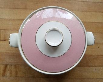 Vintage, Homer Laughlin, Glenwood, Pink Covered Vegetable Bowl with Lid