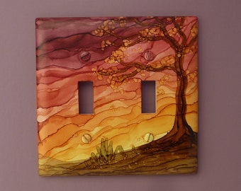 Rustic Sunset - Choose Your Size Light Switch Cover, Tree Painted with Alcohol Ink