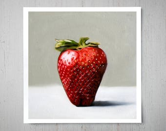 Single Strawberry - Fine Art Oil Painting Archival Giclee Print Decor by Artist Lauren Pretorius