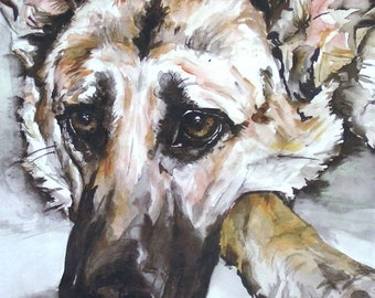 Custom watercolor pet portrait in time for Xmas from your photos - 11 x 14