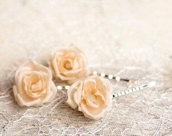 71 Hair flower pin, Cream rose hair pins, Bridal hair pins, Wedding hair pins, Hair accessories, Flower hair pins, Hair pins, Rose hair pins