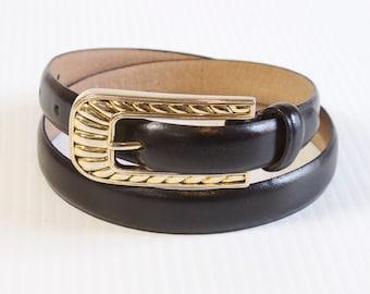 Vintage Women's Black Leather Skinny Belt by Millennium