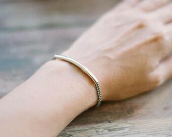Long tube bar bracelet, women bracelet, silver tube charm, chain bracelet, minimalist jewelry, birthday gift for her, link chain bracelet