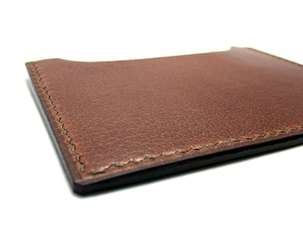 Leather Nutmeg Simple Card Case, Redwood, Warm Brown, Cognac, Copper, Handstitched Front Pocket Wallet