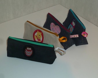 Set of 4 packages of recycled denim and 3 with Ribbon (20 CMS) varied motives