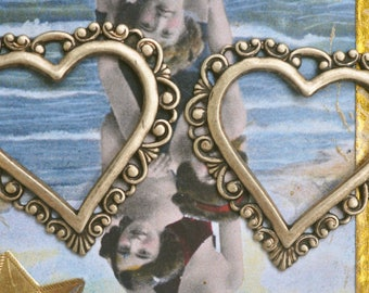 TWO brass Filigree heart charms, Brass Ox, Brass Stampings and Filigrees Made in the USA
