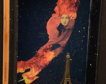 Red Kachina Over Paris:  mixed media collage, assemblage art, original art, cigar box art, eiffel tower art, Paris art, foundturtle art