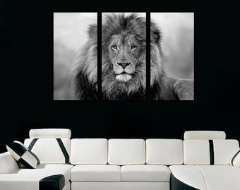 Bon African Lion Wall Art Canvas Print Black U0026 White   3 Panel Split, Triptych  Wall