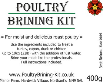 "Poultry Brining Kit - ""for moist and delicious roast Chicken, Capon or Duck"""