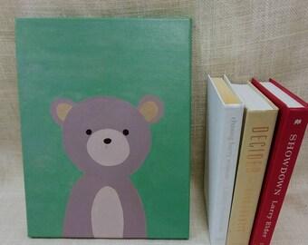 Love Love Teddy Bear Baby Kids Room Canvas Original Acrylic Painting 11×14