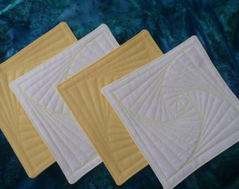 Coasters, Quilted, Yellow and White - Hostess Gift, Housewarming Gift - set of 4