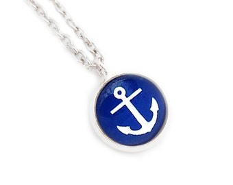 Blue Anchor Small Pendant Necklace Nautical Blue and white