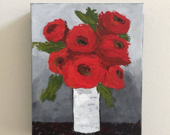 Red roses Floral acrylic painting
