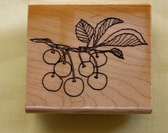 Cherries on a Branch Rubber Stamp Cherry Rubber Stamp