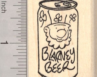St. Patrick's Day Leprechaun Beer Rubber Stamp, Blarney Can E26904 Wood Mounted