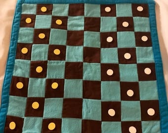 Handmade Checkerboard with Bag- Blue and Brown