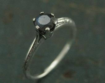 Atlantis Labradorite Engagement Ring--Full Cut Labradorite Ring--Sterling Silver Engagement Ring--Vintage Style Six Prong Solitaire Setting