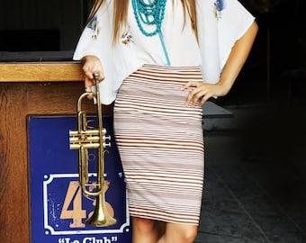 SALE!!!! Tube  Skirt; Pencil Skirt; Midi Pencil Skirt; Adjustable Skirt; Striped Skirt; Women Midi Skirt; Stretch Cotton Pencil Skirt
