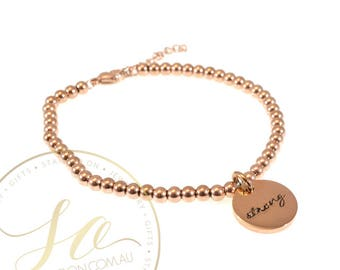 4mm Bead Bracelet with Disc Charm - Personalised Hand Stamped - Stainless Steel Silver, Gold, Rose Gold