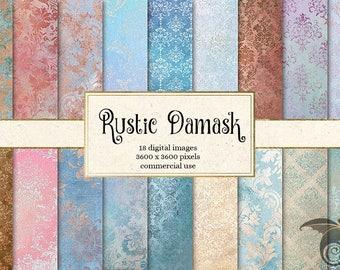 Rustic Damask Digital Paper, vintage shabby chic damask printable scrapbook paper, grunge distressed damask pattern backgrounds download
