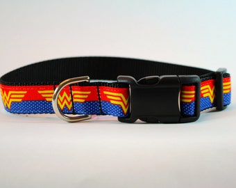 Wonder Woman inspired dog collar, DC comics, superhero, super girl dog collar, nylon webbing collar, pet gift, dog accessory, Bozies Bags