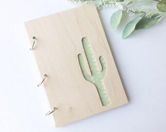 Journal, sketchbook, wooden journal, wooden sketchbook, cactus journal, cactus gift, tribal print, writer gift