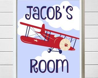 Airplane nursery etsy custom made to order personalized boys airplanebiplane wall artprintable art negle Gallery