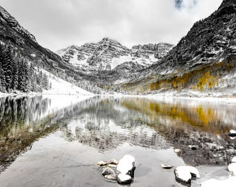 Maroon Bells, Aspen,Colorado,Fall Colors,Snow,Landscape Photography,Nature,Lake,Reflection,Home Office Decor,Wall Art, Autumn,Rocky Mountain
