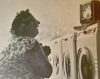 Laundromat - Wash and Watch - 1960s Mad Man era 4 by 6 inch print