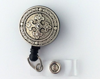 Antiqued Silver Cross Badge Holder on  Retractable Reel - Name Badge Holder 329
