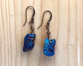 Blue druzy earrings, Raw stone earrings, Natural earrings, Cobalt blue earrings, dark blue earrings