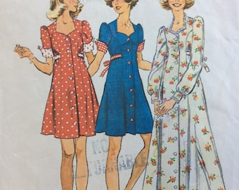 Simplicity 6456 junior misses dress in two lengths size 13/14 bust 33 1/2 vintage 1970's sewing pattern