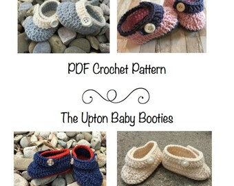 PDF Pattern- Upton baby booties, crochet baby bootie pattern, baby shoes pattern, crochet baby, baby booties, unisex baby booties