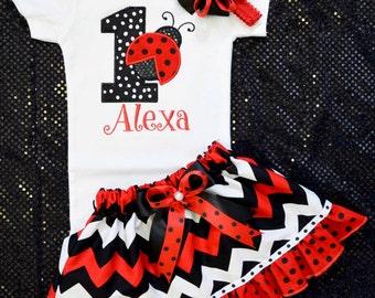 First Birthday Outfit Girl,Baby Girl 1st Birthday Tutu,Ladybug Birthday Outfit,Red black chevron skirt,1st birthday tutu,customized 1st tutu