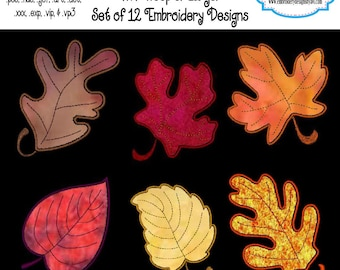 Fall Autumn Leaves Applique Machine Embroidery Designs Set Instant Download Sale