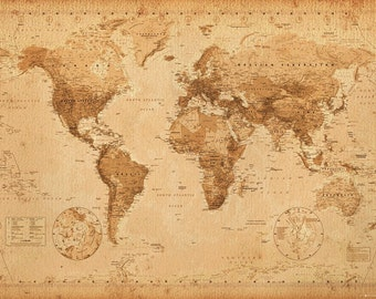 World map poster etsy antique vintage style world map poster gumiabroncs Gallery