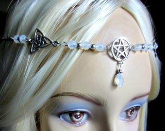 Rainbow Moonstone Circlet, Pentacle Circlet, Triquetra Headpiece, Choose Circlet or Necklace or Both