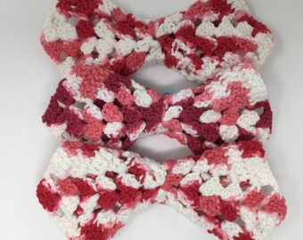 Dishcloth Set, 3 Crocheted Dishcloths, Red And White Dishcloths, Handmade Cotton Dishcloths, Red Kitchen, Mother's Day Gift, Housewarming
