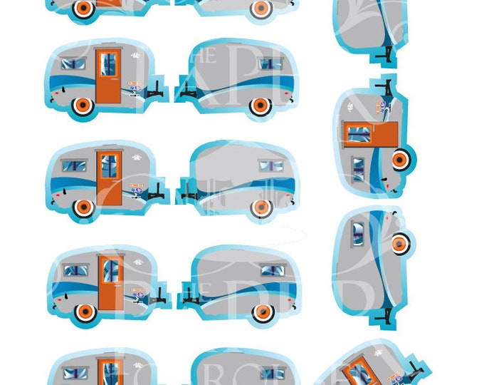 Digital Download RV Camper Cupcake Topper- Blue, Orange, Grey